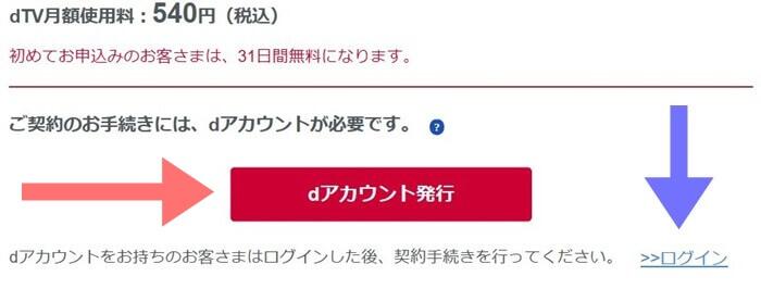 dTVのdアカウント発行とログイン画面